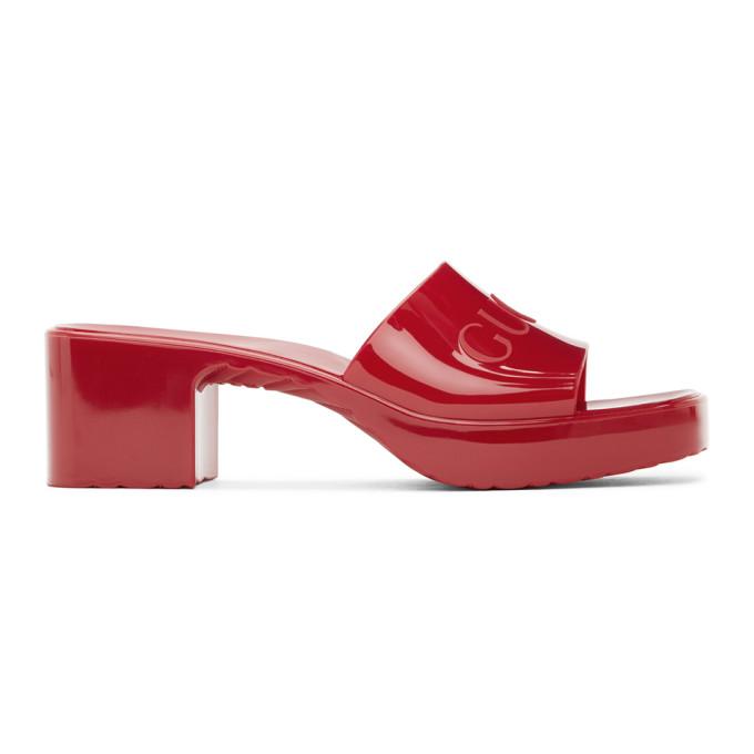 Gucci 红色橡胶徽标凉鞋