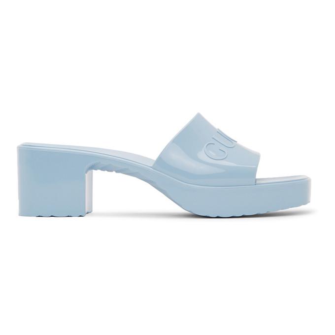 Gucci 蓝色橡胶凉鞋