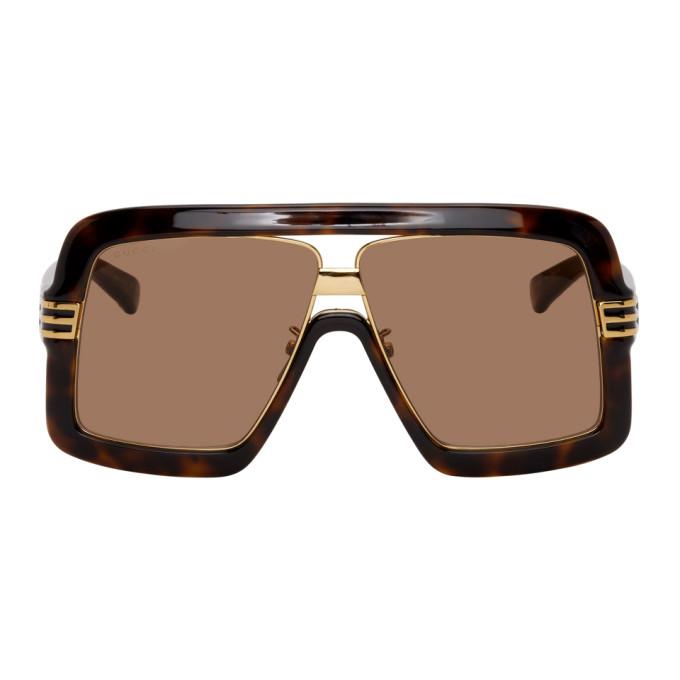 Gucci Sunglasses GUCCI BROWN AND GOLD SQUARE SUNGLASSES
