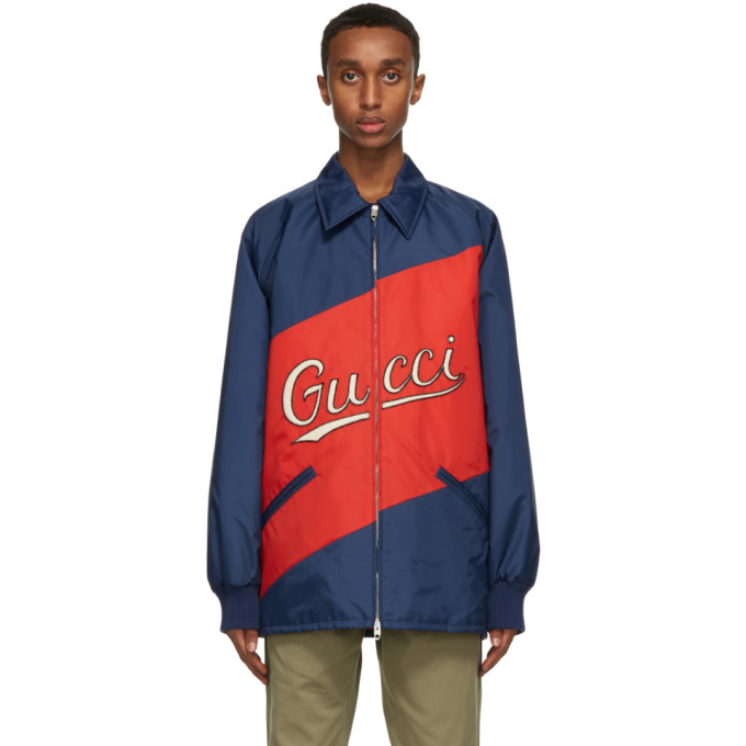 Gucci GUCCI RED AND NAVY NYLON SCRIPT JACKET