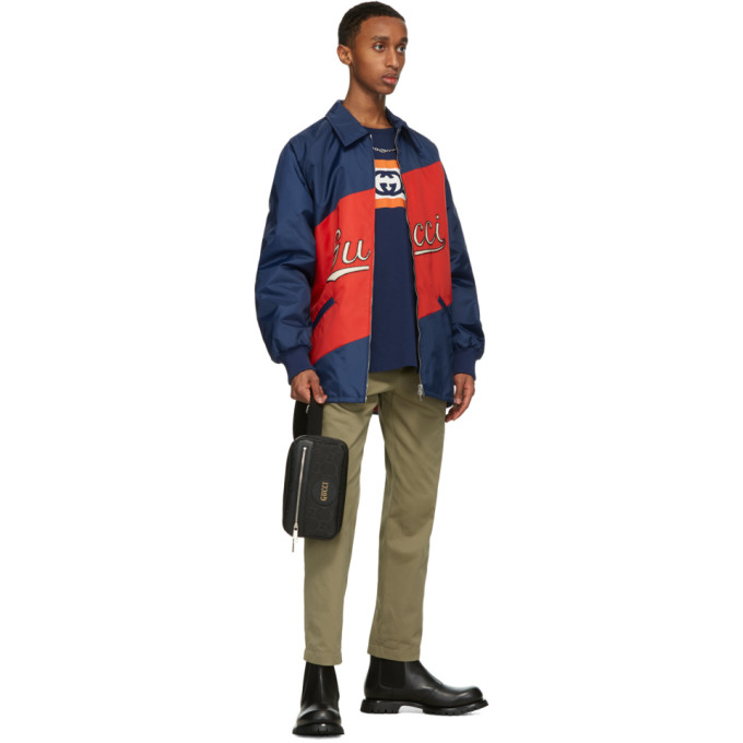 GUCCI Linings GUCCI RED AND NAVY NYLON SCRIPT JACKET