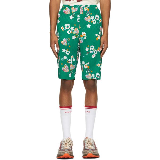 Gucci Silks GUCCI GREEN SILK GG GRAPHIC SHORTS