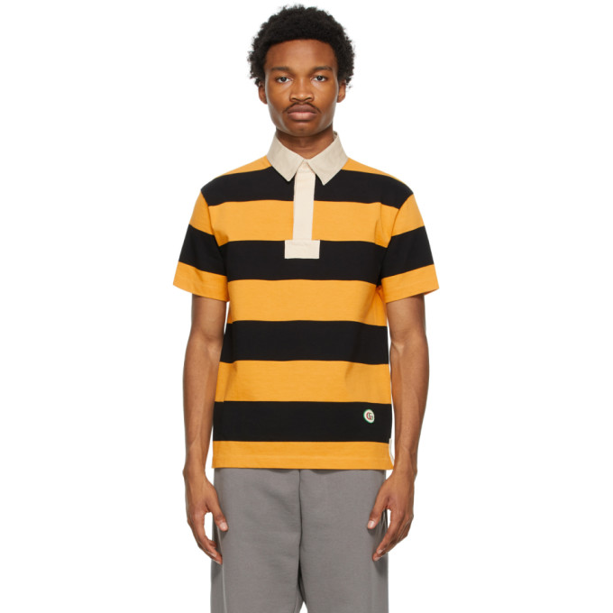 Gucci GUCCI YELLOW AND BLACK COTTON STRIPED PATCH POLO