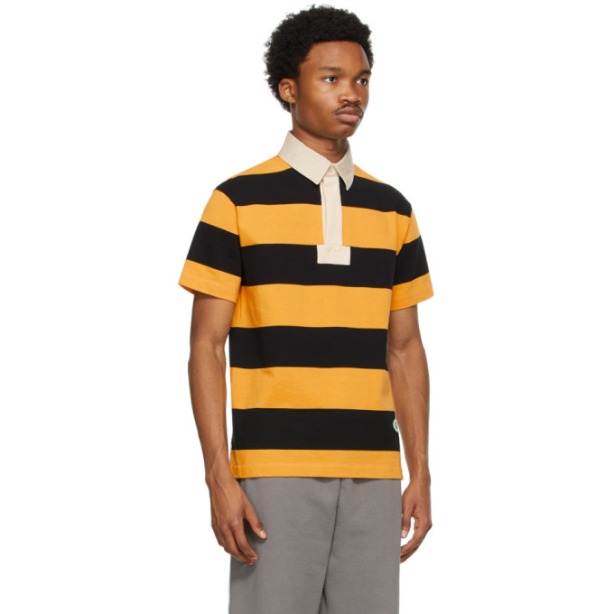 GUCCI Cottons GUCCI YELLOW AND BLACK COTTON STRIPED PATCH POLO