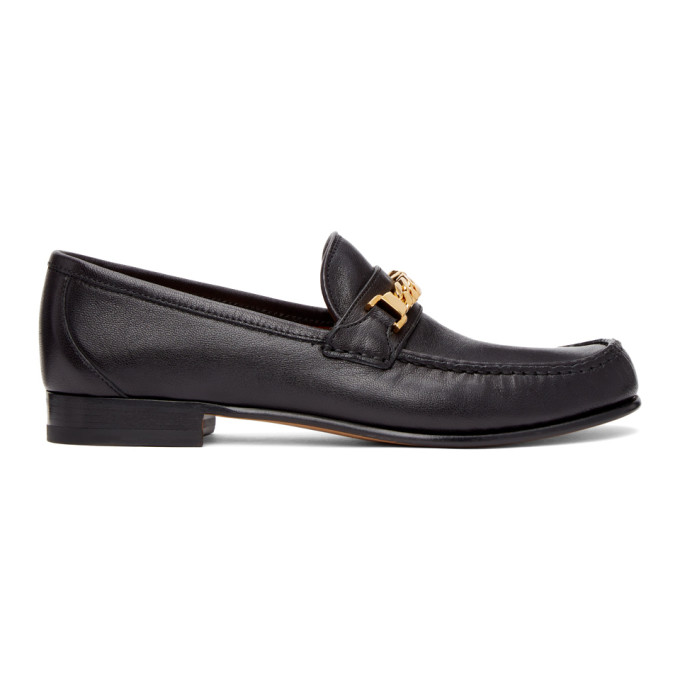 Gucci GUCCI BLACK CURB CHAIN LOAFERS
