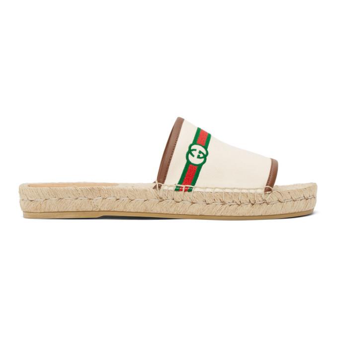 Gucci GUCCI BEIGE EMBROIDERED GG ESPADRILLE SANDALS