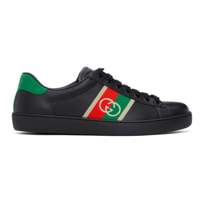 Gucci White and Red Interlocking G Ace Sneakers - 644749-1XGM0