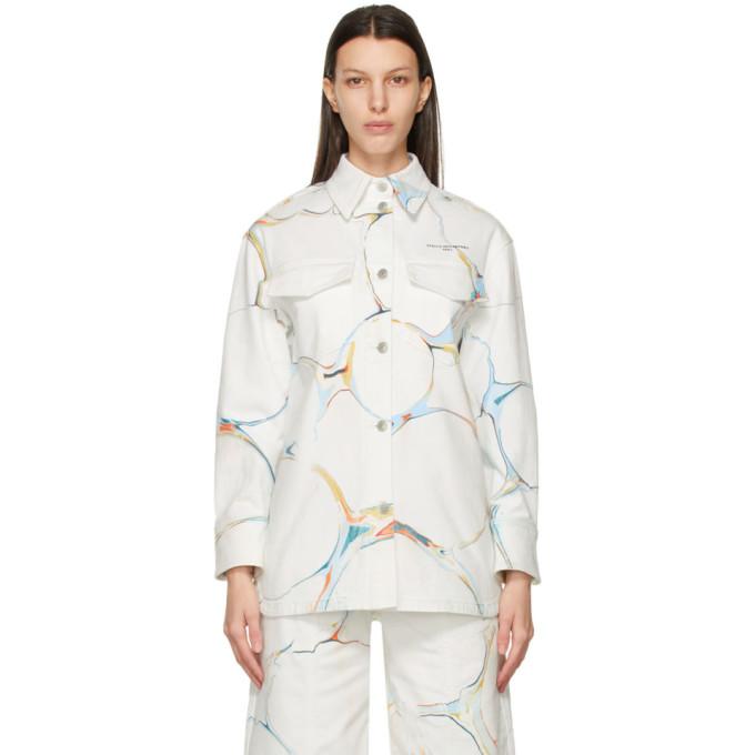 Stella McCartney Stella McCartney White Denim Graphic Print Jacket