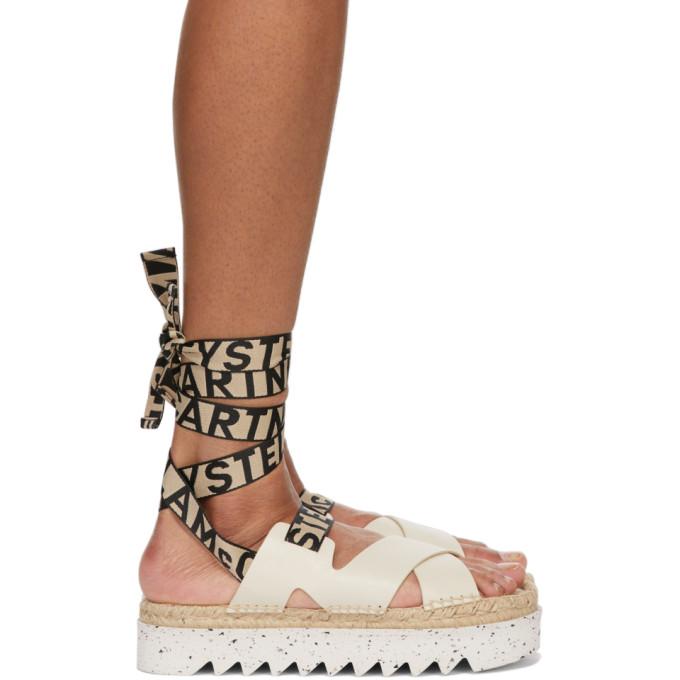 Stella Mccartney Gaia Platform Espadrille Sandals In 9004 Dirty Ivory