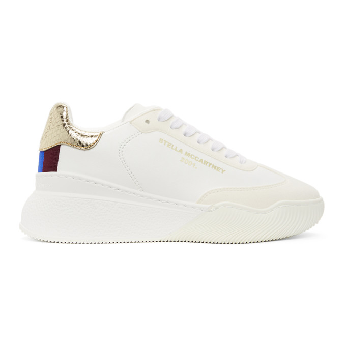 STELLA MCCARTNEY STELLA MCCARTNEY WHITE AND GOLD LOOP SNEAKERS