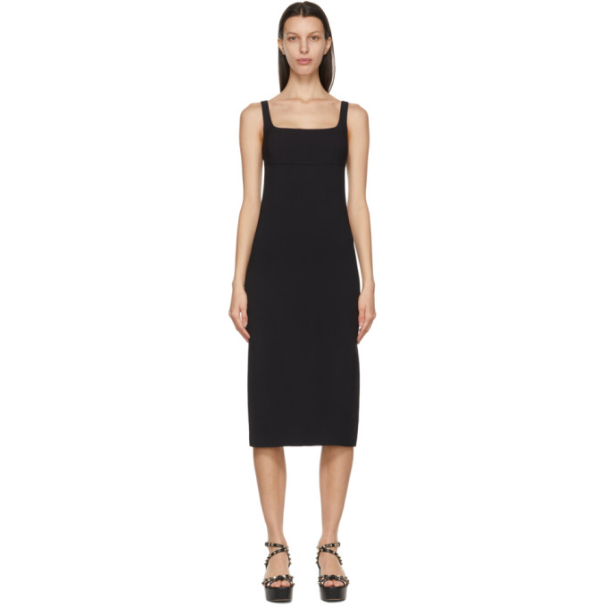 Valentino 黑色方领无袖连衣裙