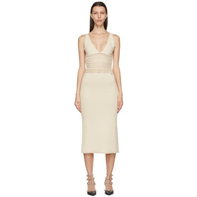 Valentino 米色无袖连衣裙