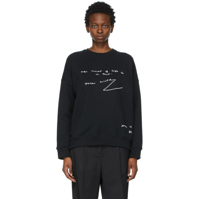Jw Anderson Quote Embroidered Oversized Raglan Sweatshirt In Black