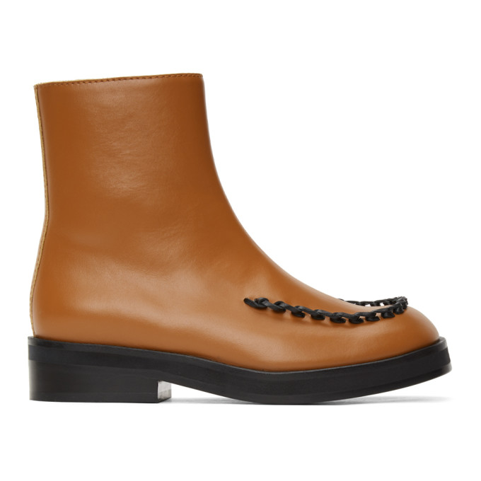 Jw Anderson JW ANDERSON BROWN STITCH ANKLE BOOTS
