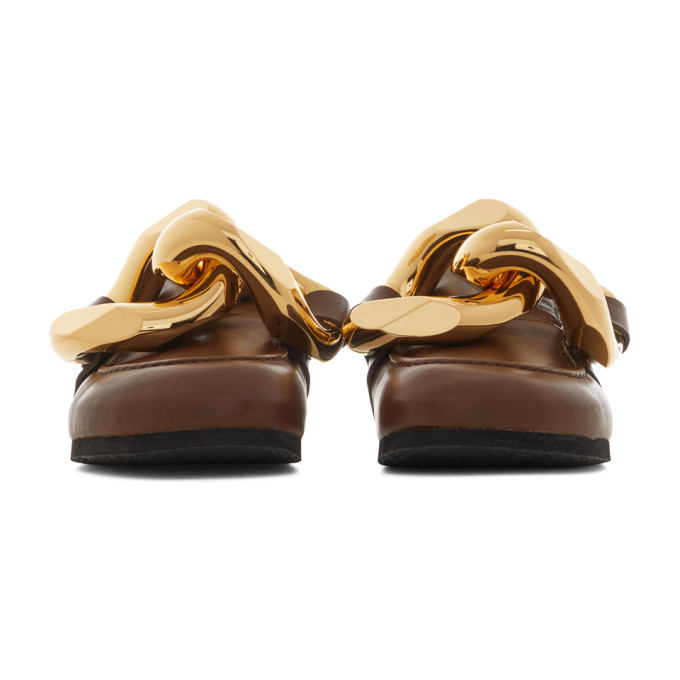 JW ANDERSON Suedes JW ANDERSON BROWN CHAIN LOAFERS