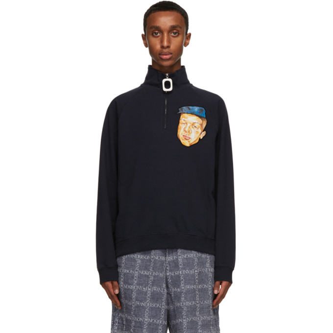 Jw Anderson Sweaters JW ANDERSON NAVY EMBROIDERED FACE HALF-ZIP SWEATER