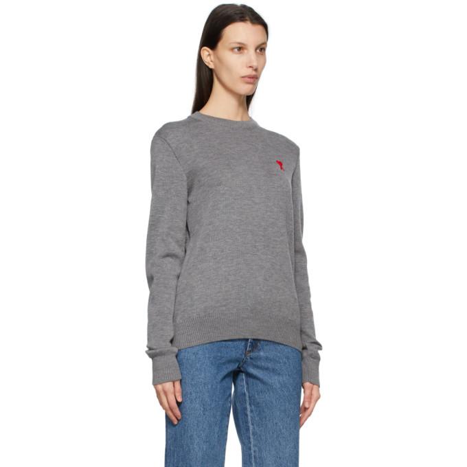 AMI ALEXANDRE MATTIUSSI Sweaters AMI ALEXANDRE MATTIUSSI GREY AMI DE COEUR SWEATER