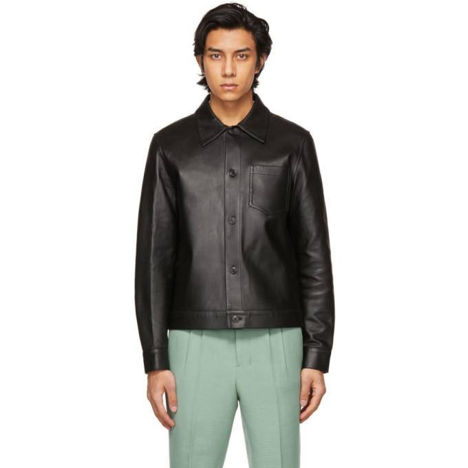 AMI Alexandre Mattiussi ブラック オーバーシャツ レザー ジャケット