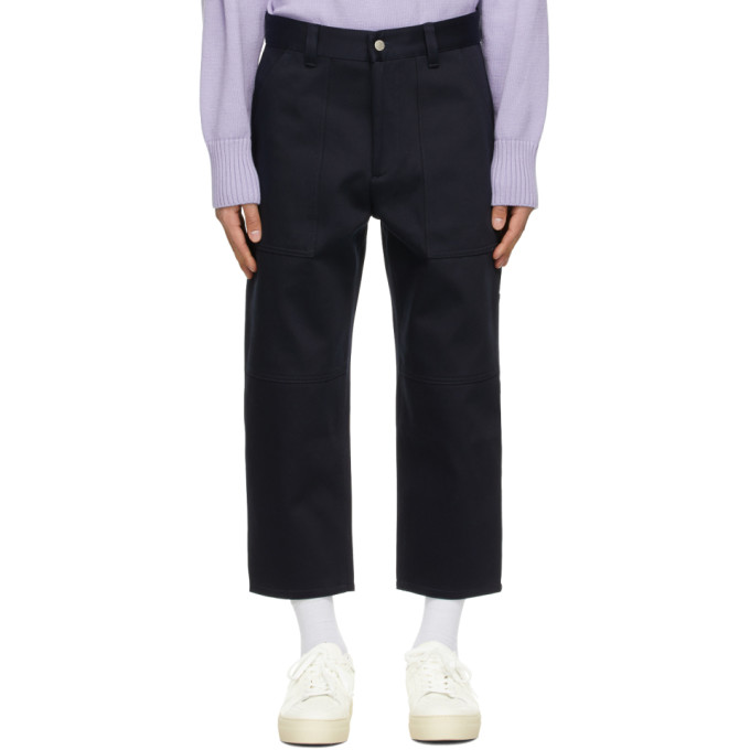 Ami Alexandre Mattiussi AMI ALEXANDRE MATTIUSSI NAVY WORKER FIT TROUSERS