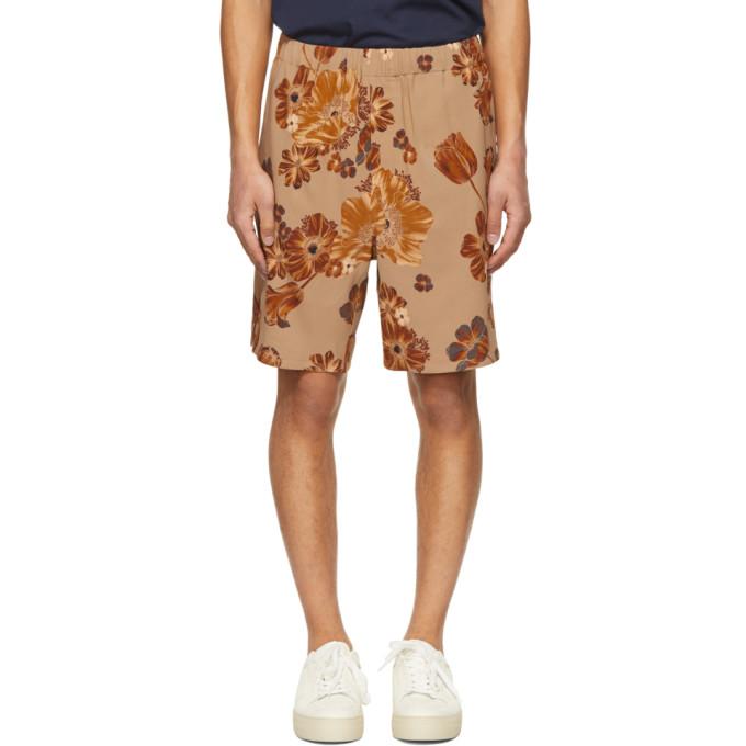 Ami Alexandre Mattiussi Clothing AMI ALEXANDRE MATTIUSSI BEIGE AND ORANGE FLOWER PRINTED ELASTICIZED WAIST BERMUDA SHORTS