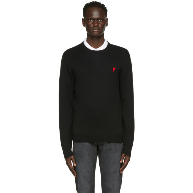 Ami Alexandre Mattiussi Ami Paris Black Round Neck Sweatshirt With Logo In Noir/001