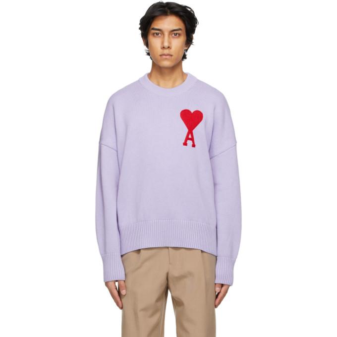 Ami Alexandre Mattiussi Lilac Cotton Blend Sweater  Purple Ami Uomo L In Lila/504