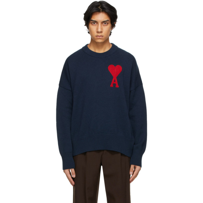 Ami Alexandre Mattiussi Oversized Logo-jacquard Cotton-blend Sweater In Navy/410
