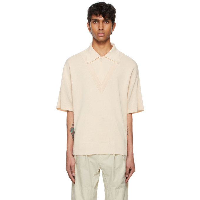 Le17septembre Beige Layered V-neck Polo In Ivory