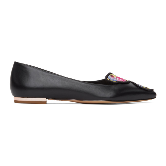 Sophia Webster SOPHIA WEBSTER BLACK AND MULTICOLOR BUTTERFLY BALLERINA FLATS