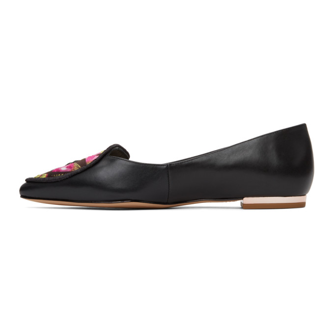 SOPHIA WEBSTER Leathers SOPHIA WEBSTER BLACK AND MULTICOLOR BUTTERFLY BALLERINA FLATS