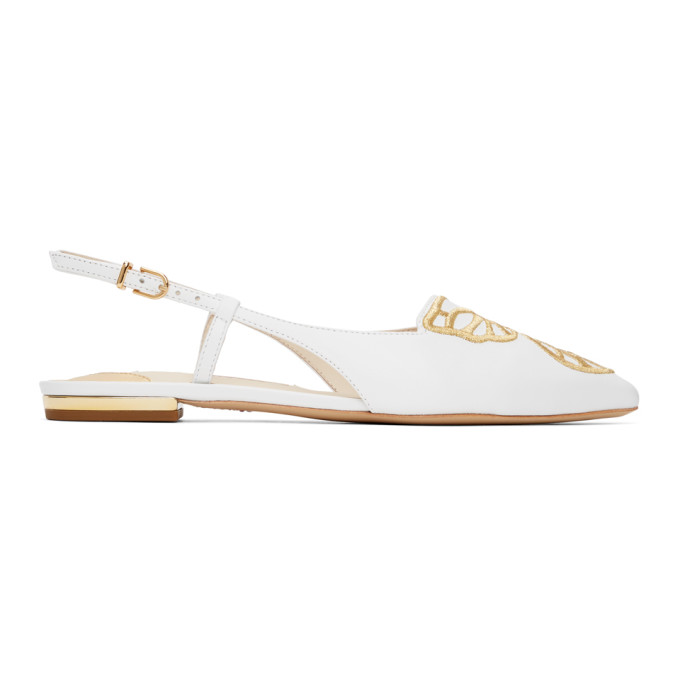 Sophia Webster SOPHIA WEBSTER WHITE BUTTERFLY SLINGBACK FLATS
