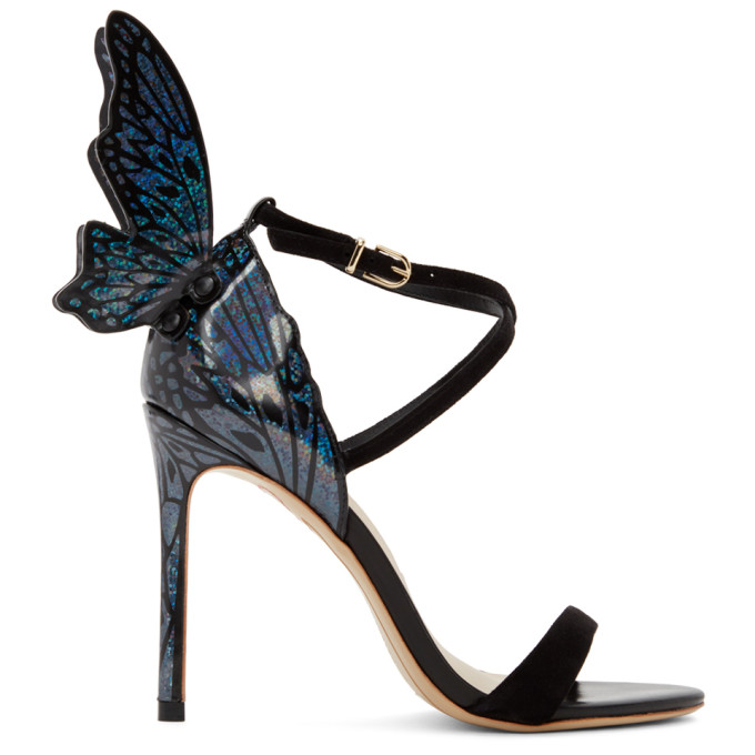 Sophia Webster SOPHIA WEBSTER BLACK AND MULTICOLOR HOLOGRAPHIC TALULAH HEELED SANDALS