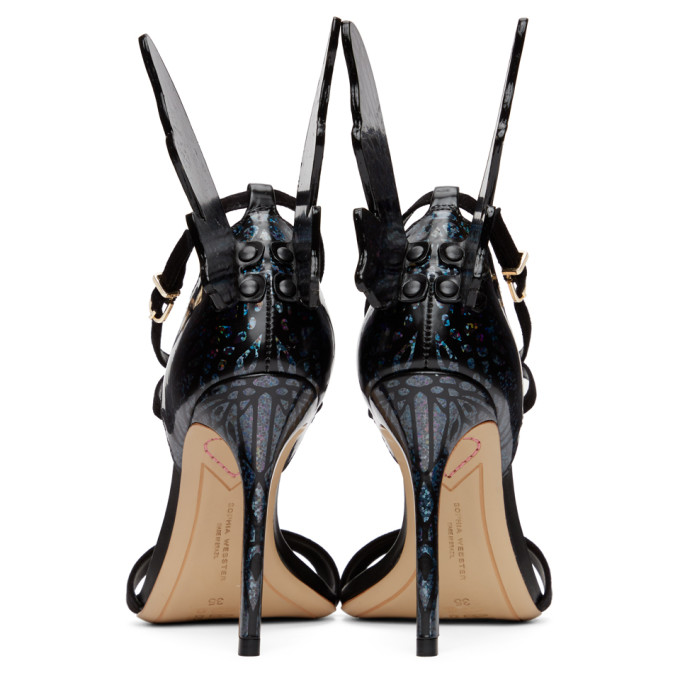 SOPHIA WEBSTER Suedes SOPHIA WEBSTER BLACK AND MULTICOLOR HOLOGRAPHIC TALULAH HEELED SANDALS