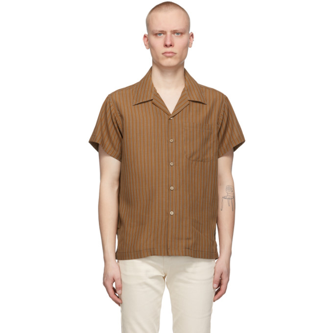 Naked And Famous NAKED AND FAMOUS DENIM BROWN STRIPED EASY CARE TWILL SHORT SLEEVE SHIRT