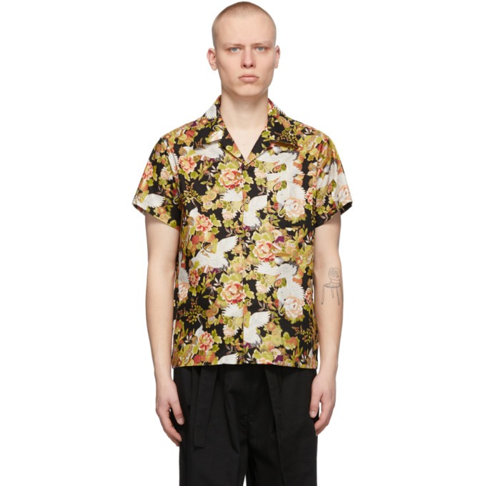 Naked And Famous NAKED AND FAMOUS DENIM BLACK CRANES SHORT SLEEVE SHIRT