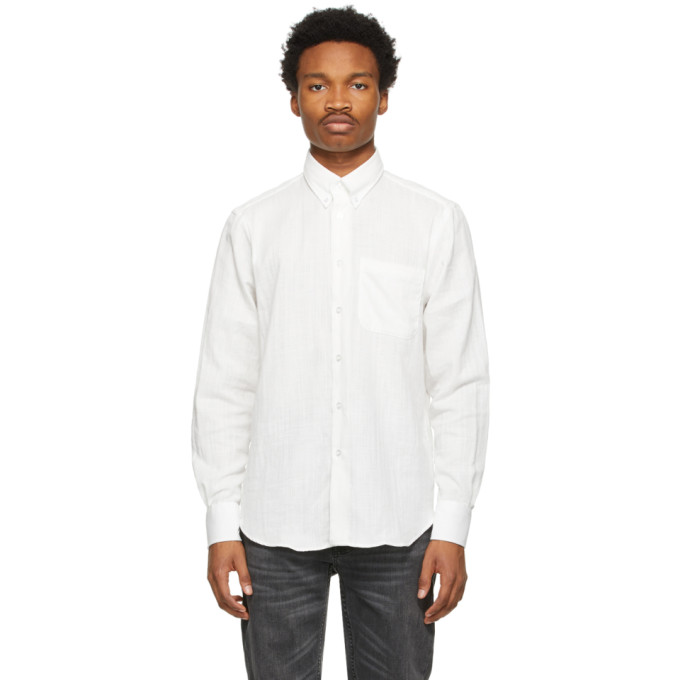 Naked And Famous Denims NAKED AND FAMOUS DENIM WHITE DOUBLE-WEAVE EASY SHIRT