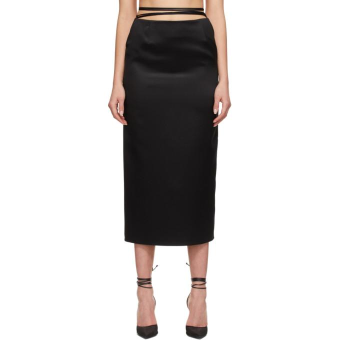 Magda Butrym Midi skirts MAGDA BUTRYM BLACK SILK TIE WAIST SKIRT