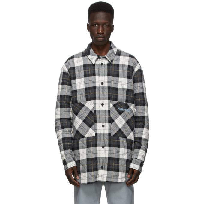 Marcelo Burlon County of Milan Marcelo Burlon County of Milan White and Black Check Logo Puffer Jacket