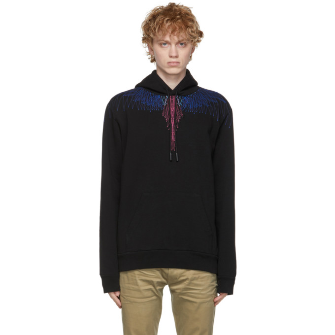 Marcelo Burlon County Of Milan MARCELO BURLON COUNTY OF MILAN BLACK AND MULTICOLOR WINGS HOODIE