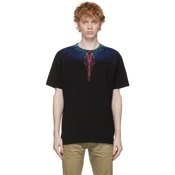 Marcelo Burlon County Of Milan MARCELO BURLON COUNTY OF MILAN BLACK AND MULTICOLOR WINGS T-SHIRT