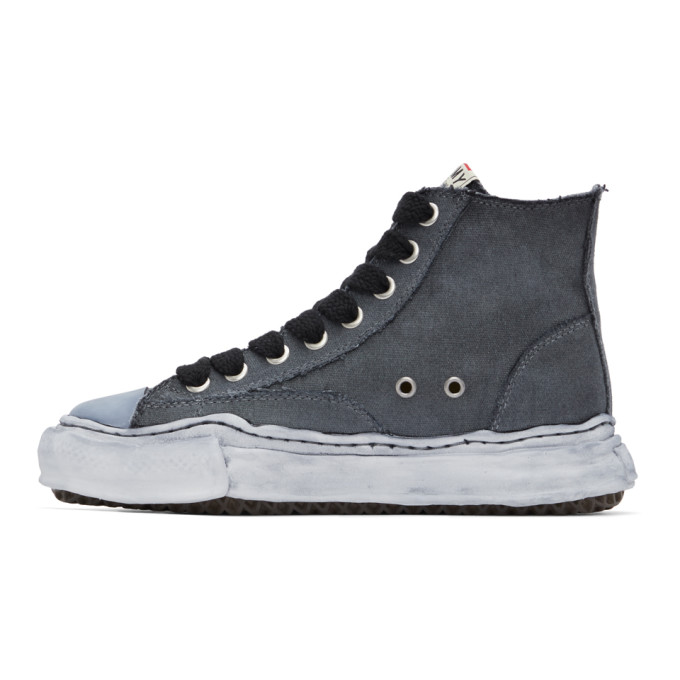 MIHARAYASUHIRO Canvases MIHARAYASUHIRO BLACK OVER-DYED OG SOLE PETERSON HIGH SNEAKERS