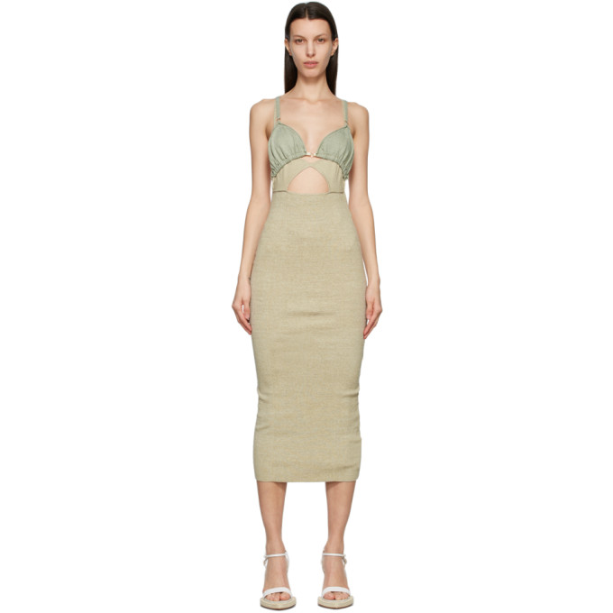 Jacquemus JACQUEMUS TAUPE AND GREEN LA ROBE PILA DRESS