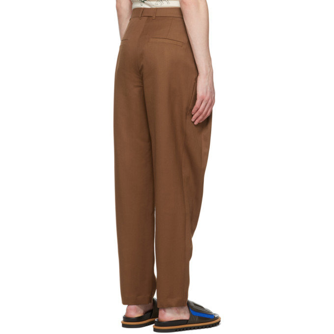 KING AND TUCKFIELD Pants KING AND TUCKFIELD BROWN TAPERED PLEAT TROUSERS
