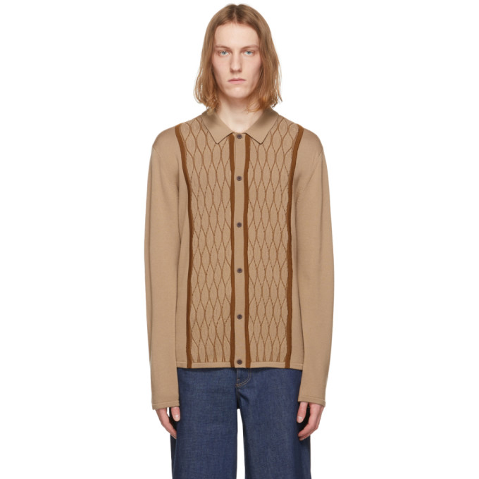 King And Tuckfield KING AND TUCKFIELD BEIGE AND BROWN MERINO KNITTED SHIRT