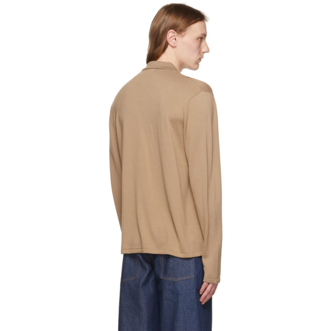 KING AND TUCKFIELD Shirts KING AND TUCKFIELD BEIGE AND BROWN MERINO KNITTED SHIRT