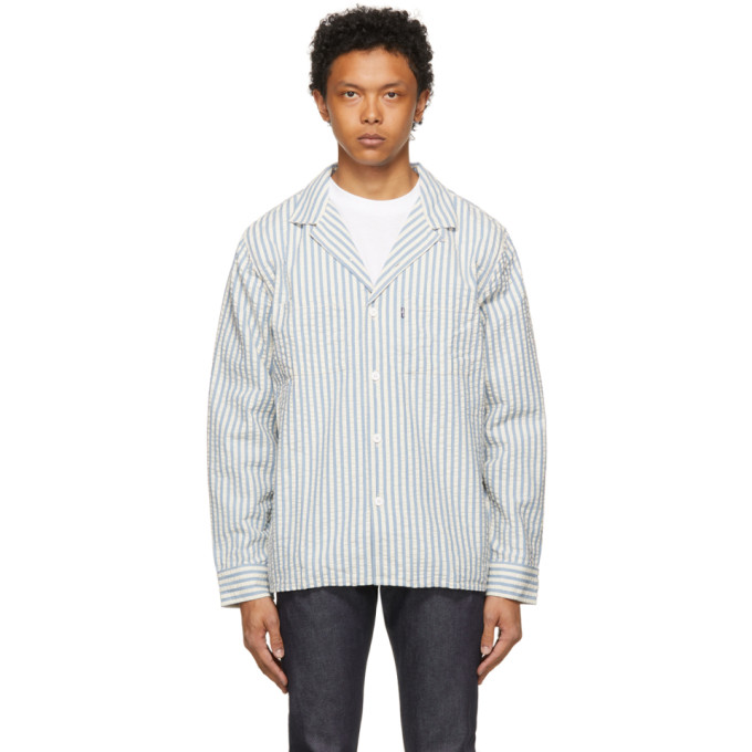 Levi's LEVIS MADE AND CRAFTED BLUE AND WHITE STRIPE CAMP SHIRT