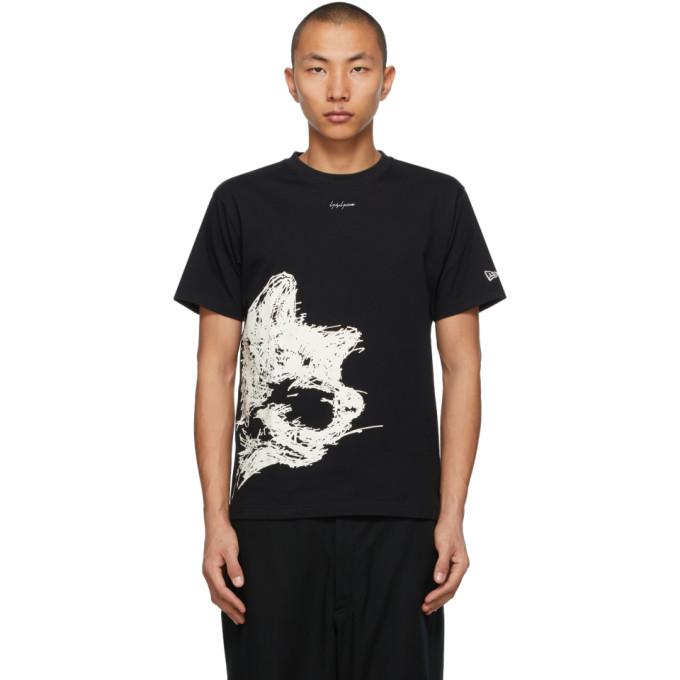 Yohji Yamamoto YOHJI YAMAMOTO BLACK NEW ERA EDITION DOG PRINT T-SHIRT