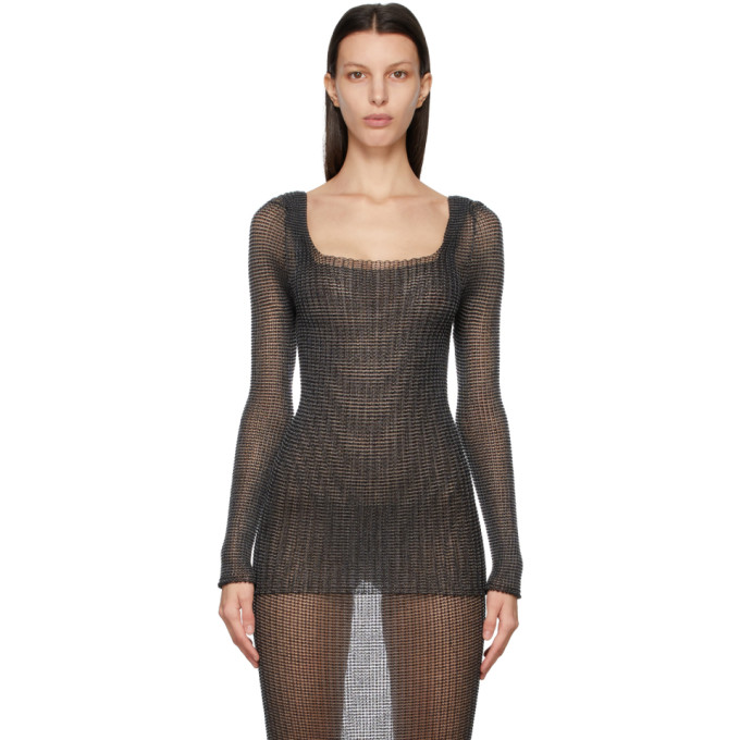 A. Roege Hove Black Square Neck Long Sleeve Pullover