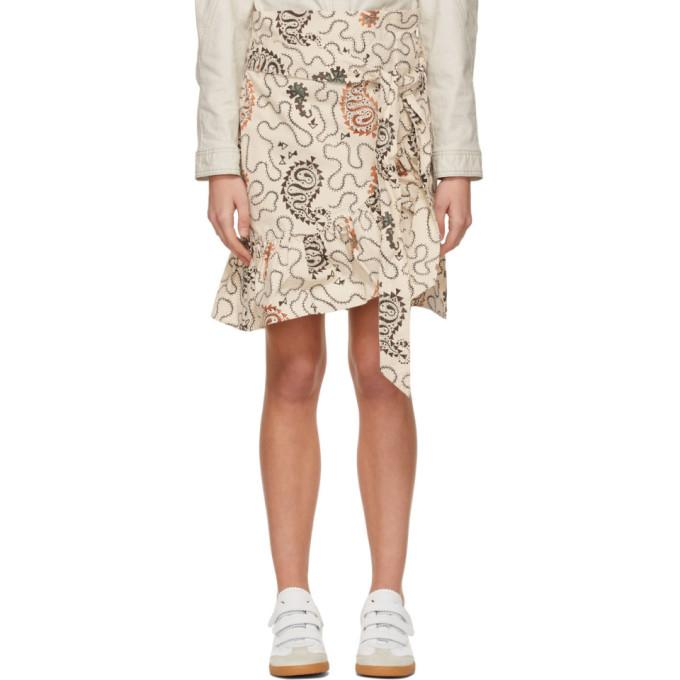 Isabel Marant Étoile Liliko Fluted-hem Paisley-print Cotton Skirt In 23ec Ecru