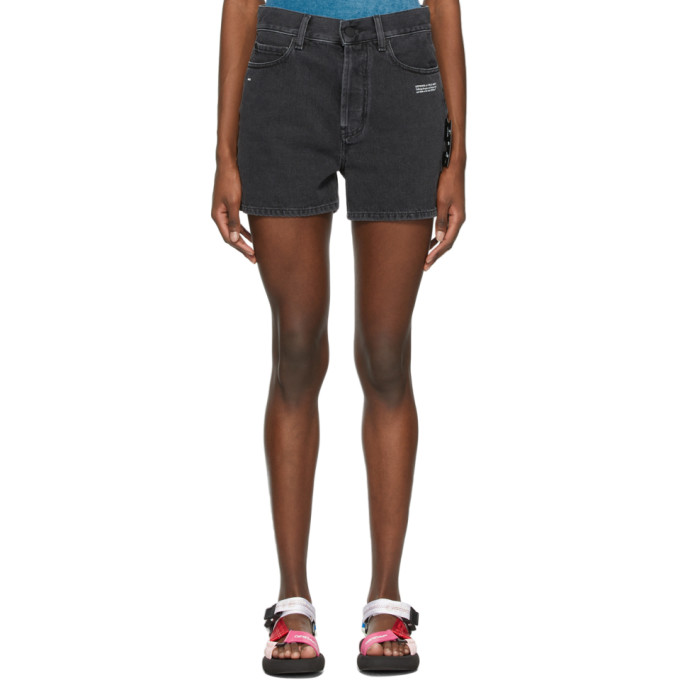 Off-white Mid-rise Logo-print Shorts In Grey